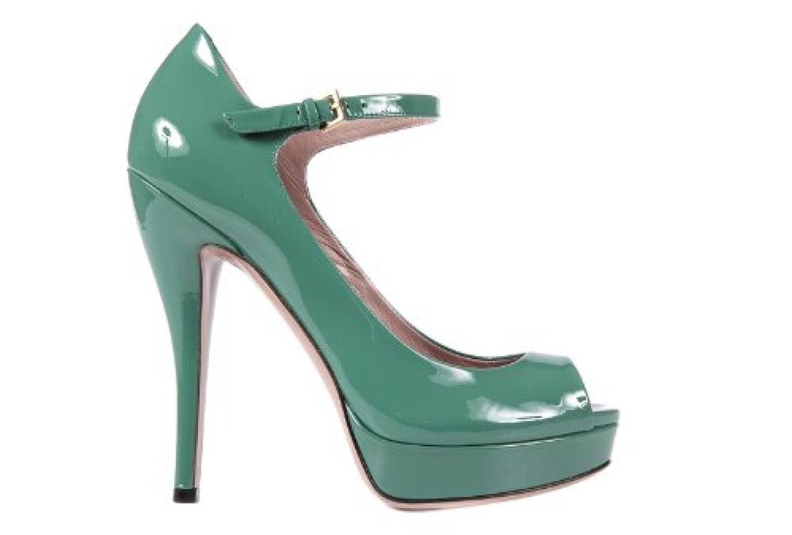 Gucci Damenschuhe Plateau Pumps Leder High Heels Grün