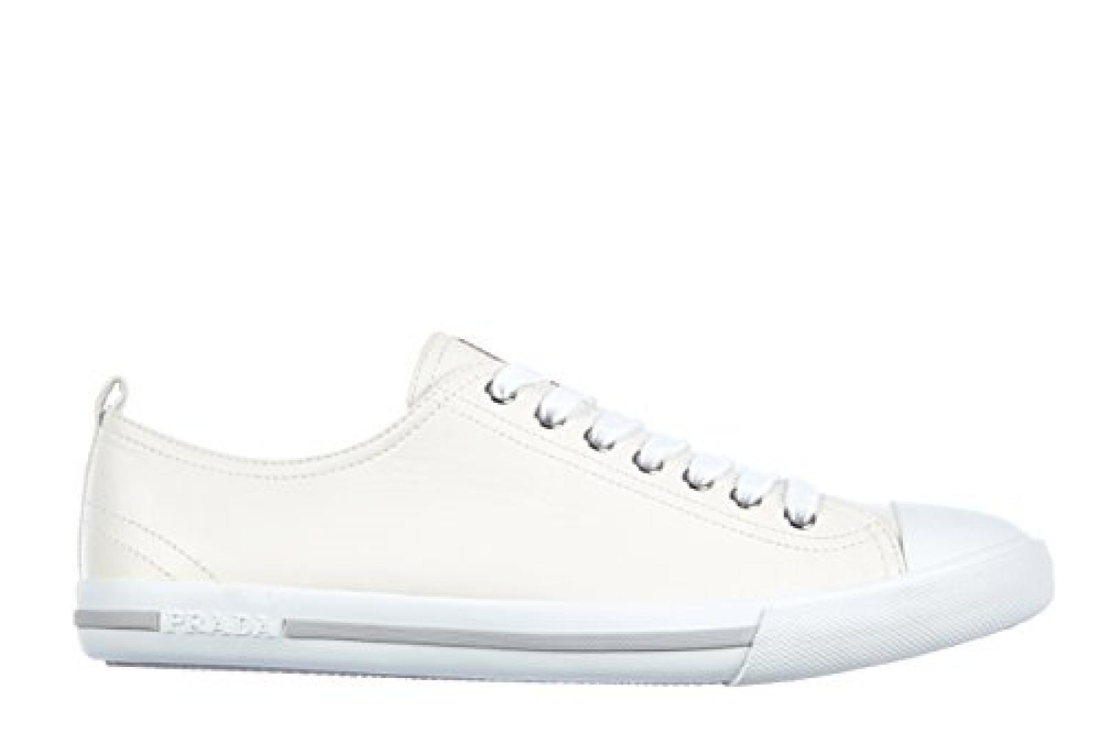 Prada Herrenschuhe Herren Leder Schuhe Sneakers nappa Weiß
