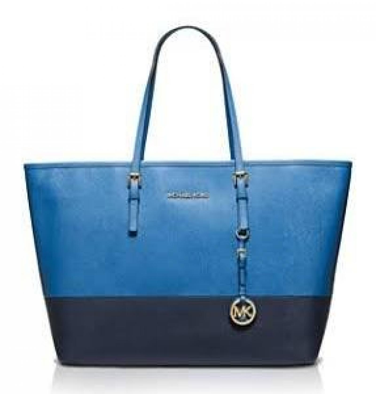 Michael Kors Tote - Jet Set Travel Medium Colorblock Heritge Blue/Navy