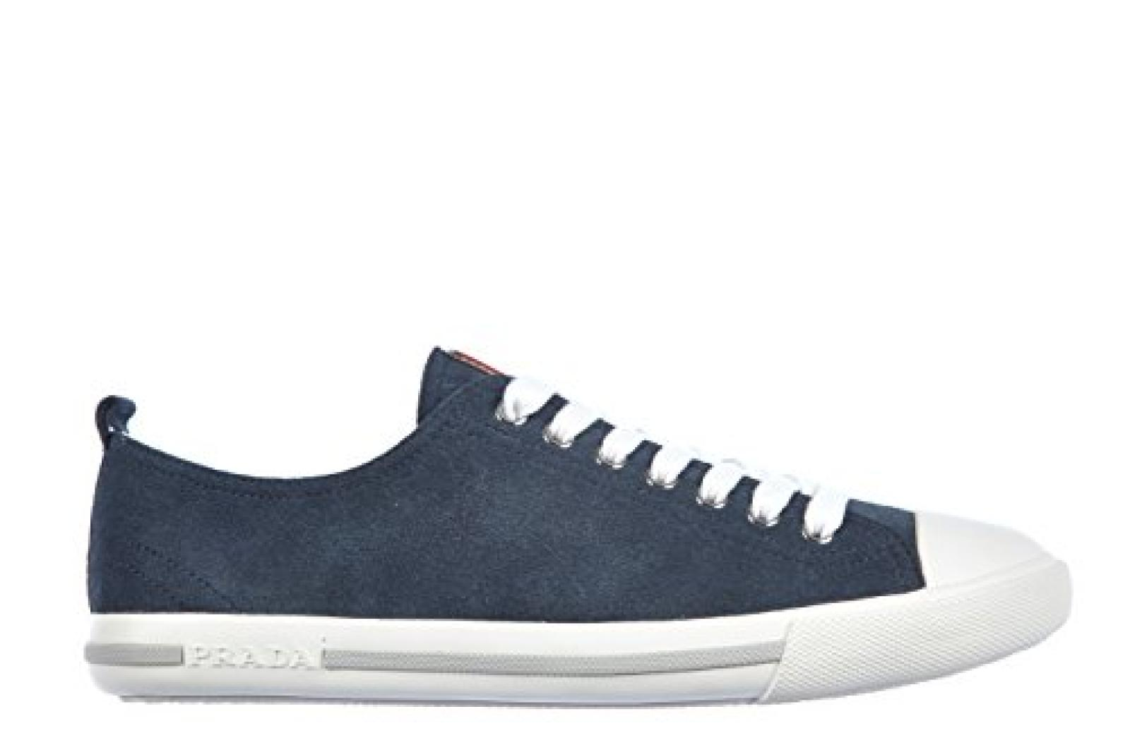 Prada Herrenschuhe Herren Wildleder Sneakers Schuhe velour blu