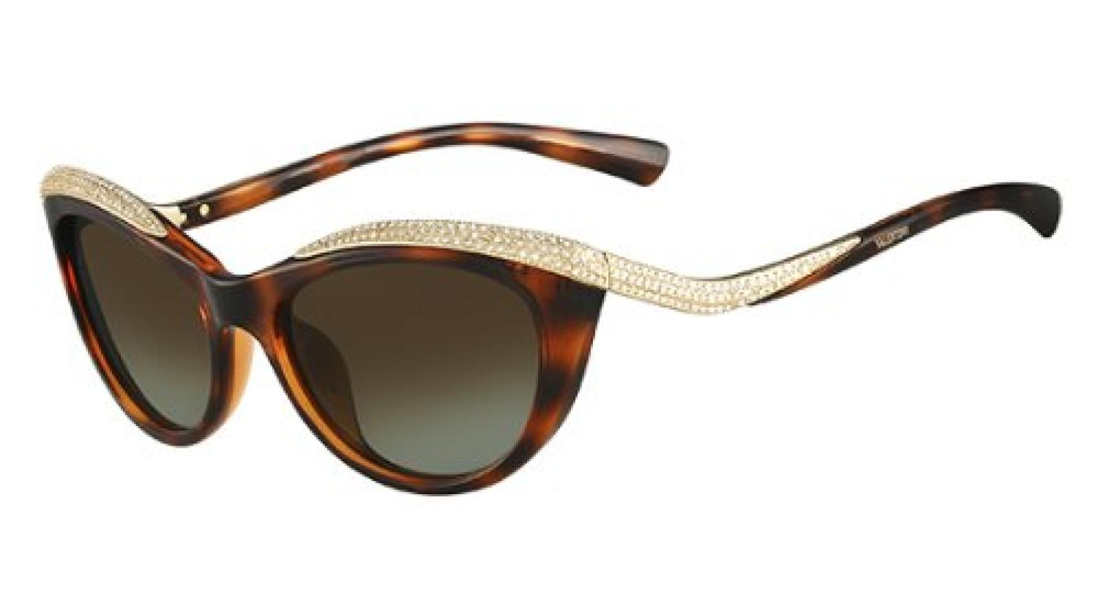 Valentino Diamante Detail Cateye Sunglasses in Dark Havana V643SR 215 54 54 Brown Gradient