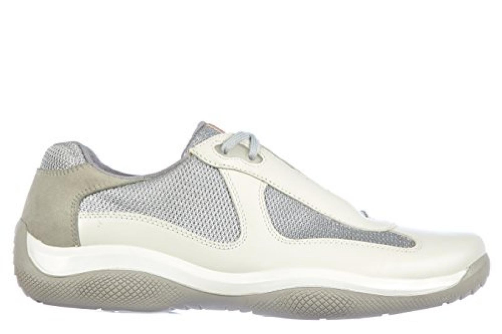 Prada Herrenschuhe Herren Leder Schuhe Sneakers nevada bike Weiß