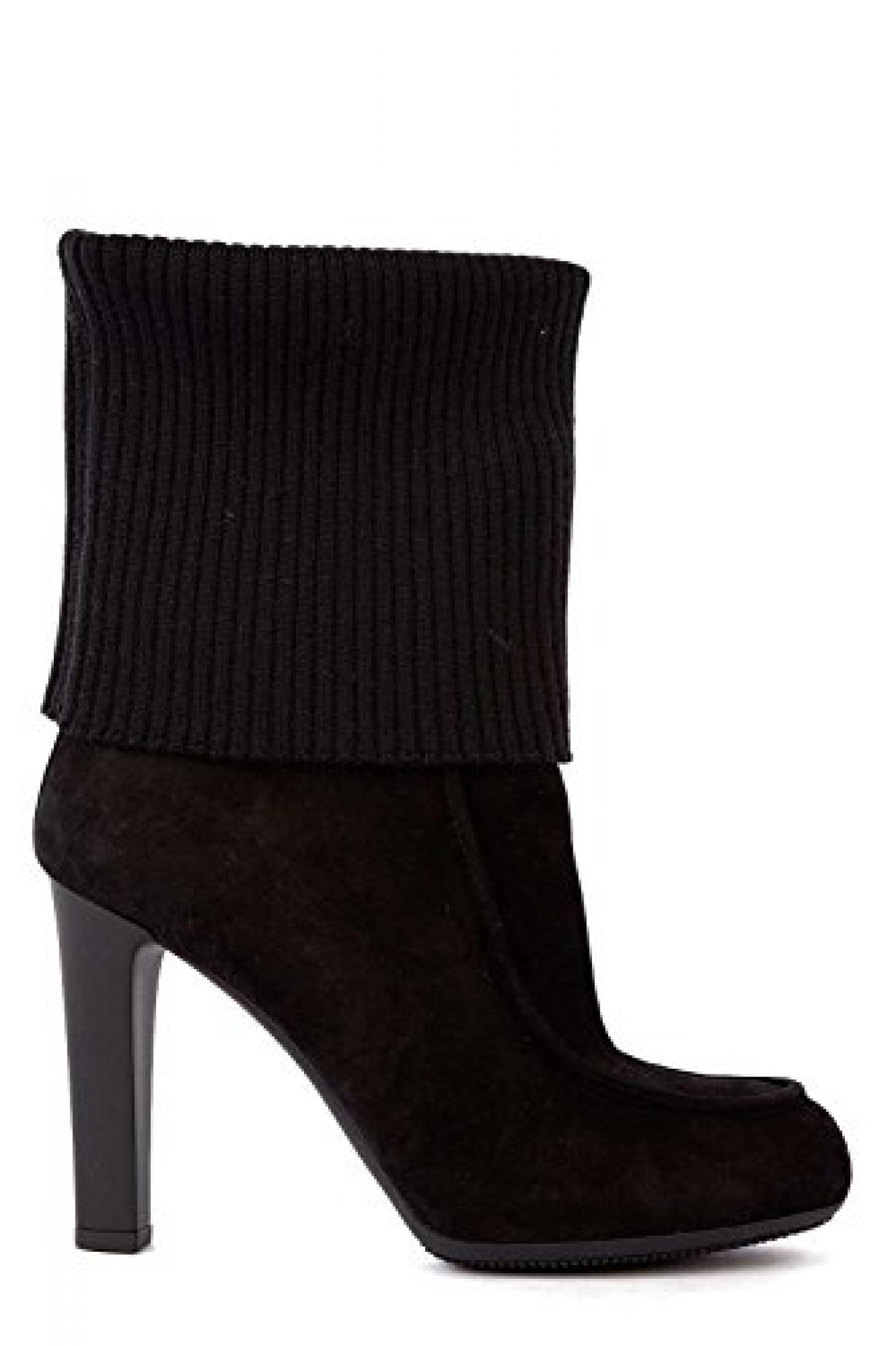 Hogan Damen Leder Stiefeletten Stiefel Ankle Boots mit Absatz Schwarz