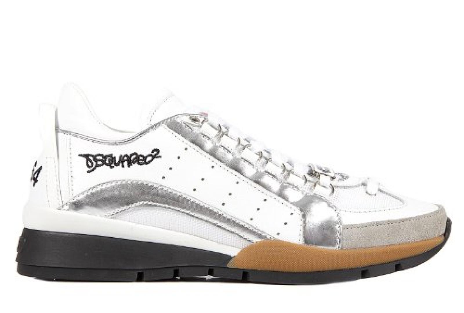 Dsquared2 Herrenschuhe Herren Leder Schuhe Sneakers Silber