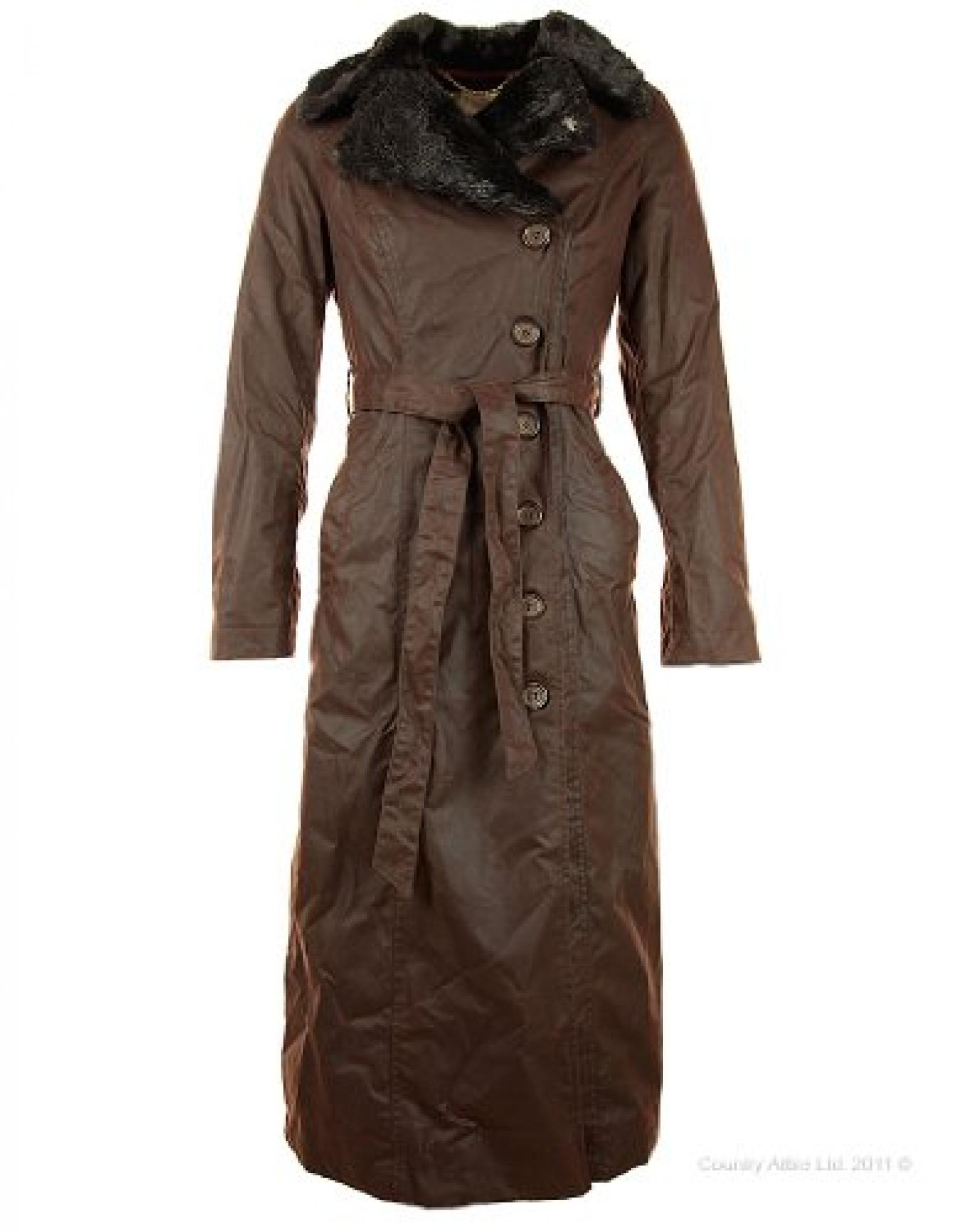 John Partridge Ladies Rosetti Long Coat - Antique Brown WAW103