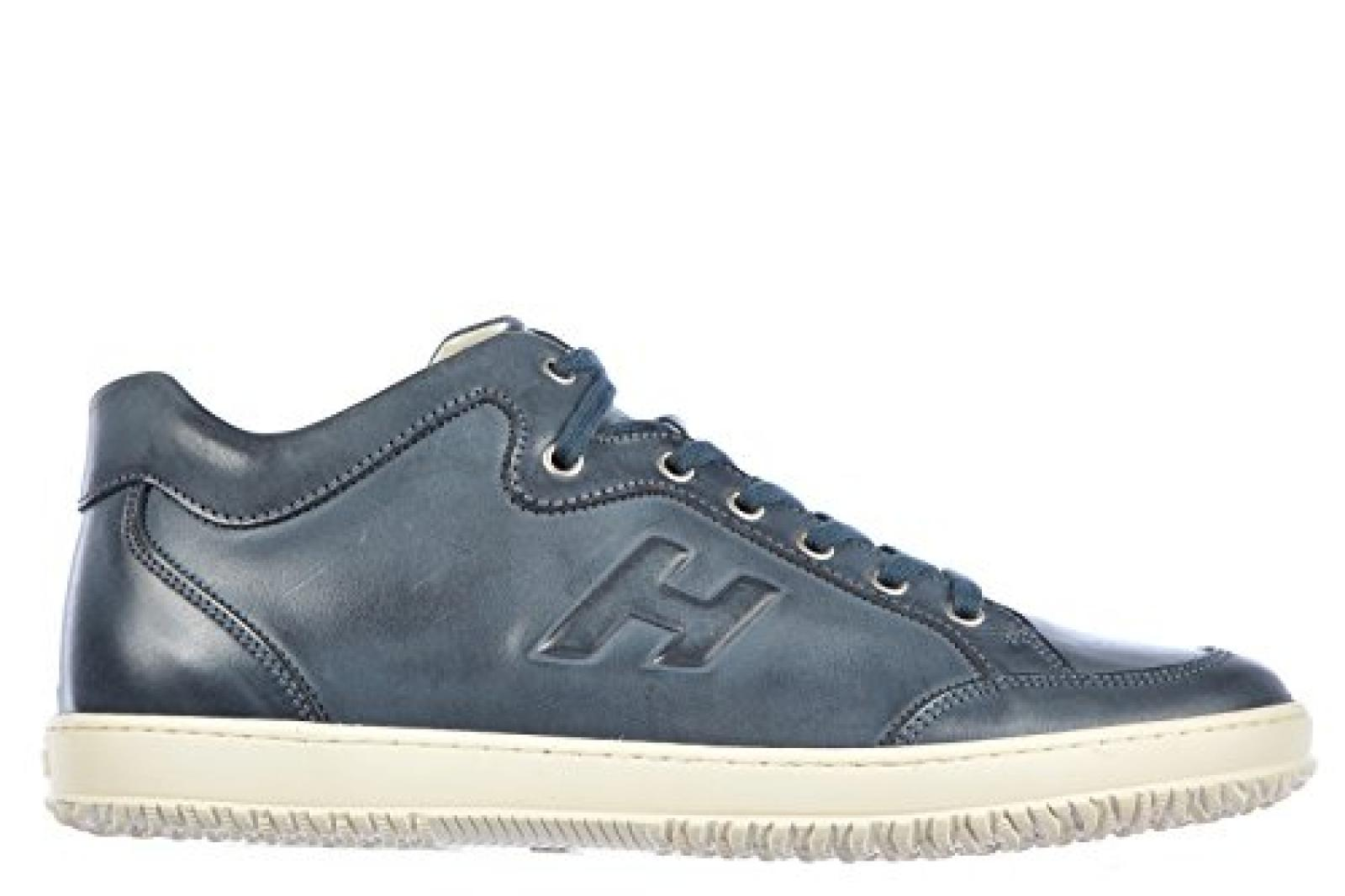 Hogan Herrenschuhe Herren Leder Schuhe Sneakers h168 mid cut blu
