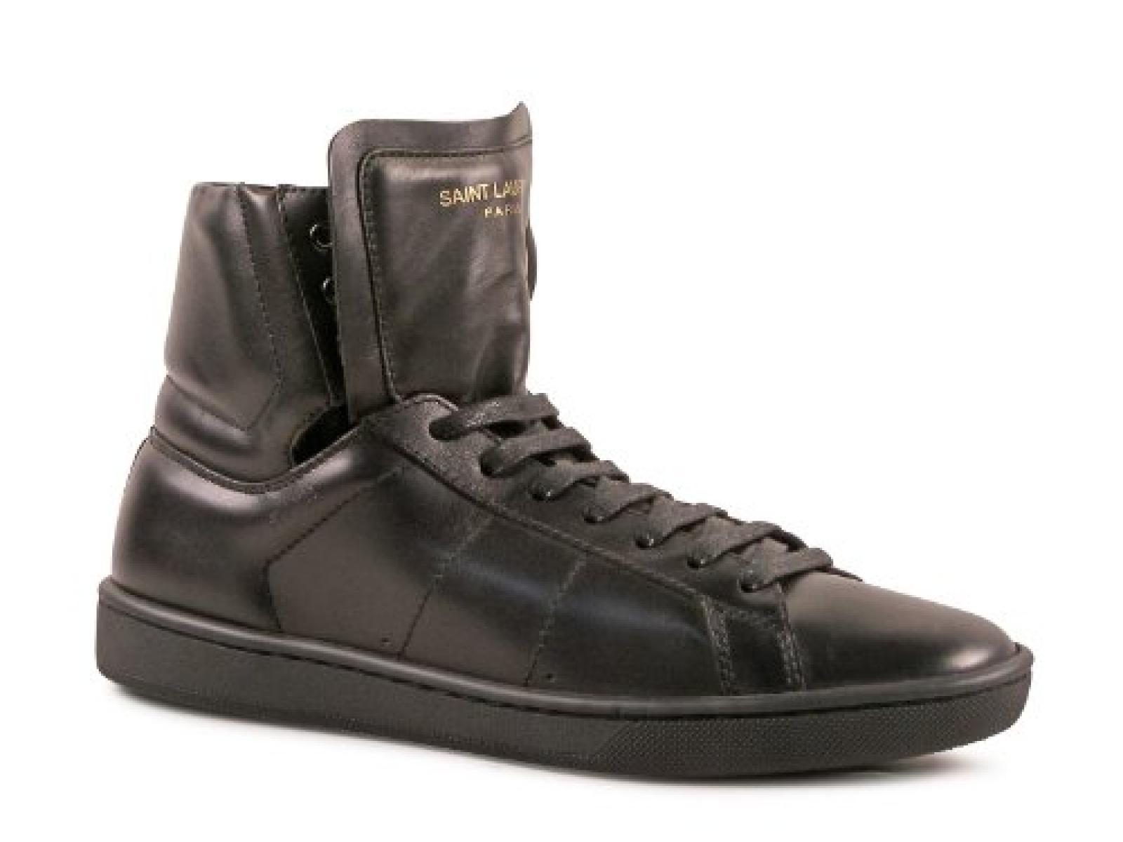 Saint Laurent Frauen hi-Top Sneakers aus schwarzem Leder - Modellnummer: 316242 AQI00 1000