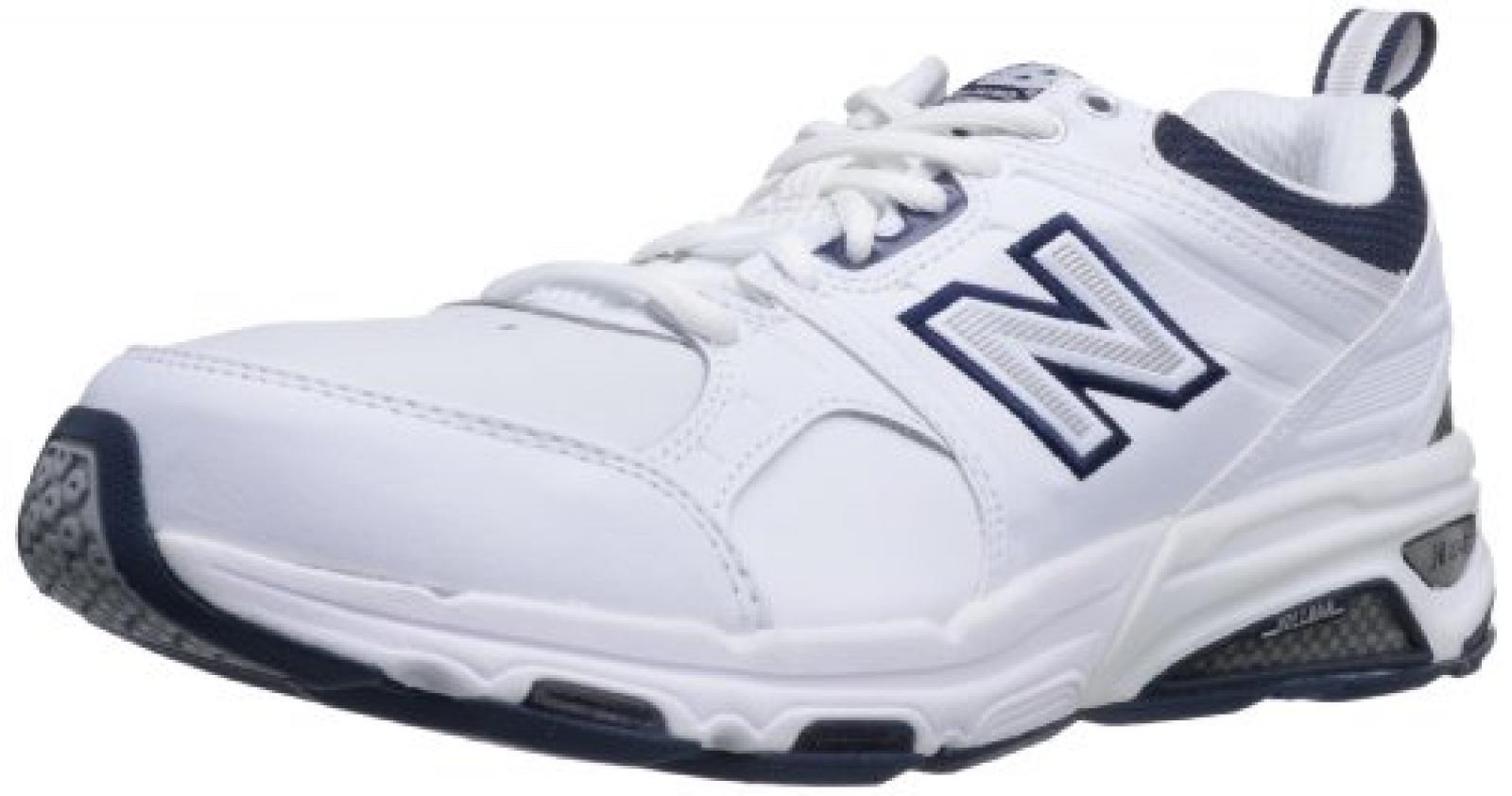 New Balance , Herren Laufschuhe, - White with Navy - Größe: 15.5 UK