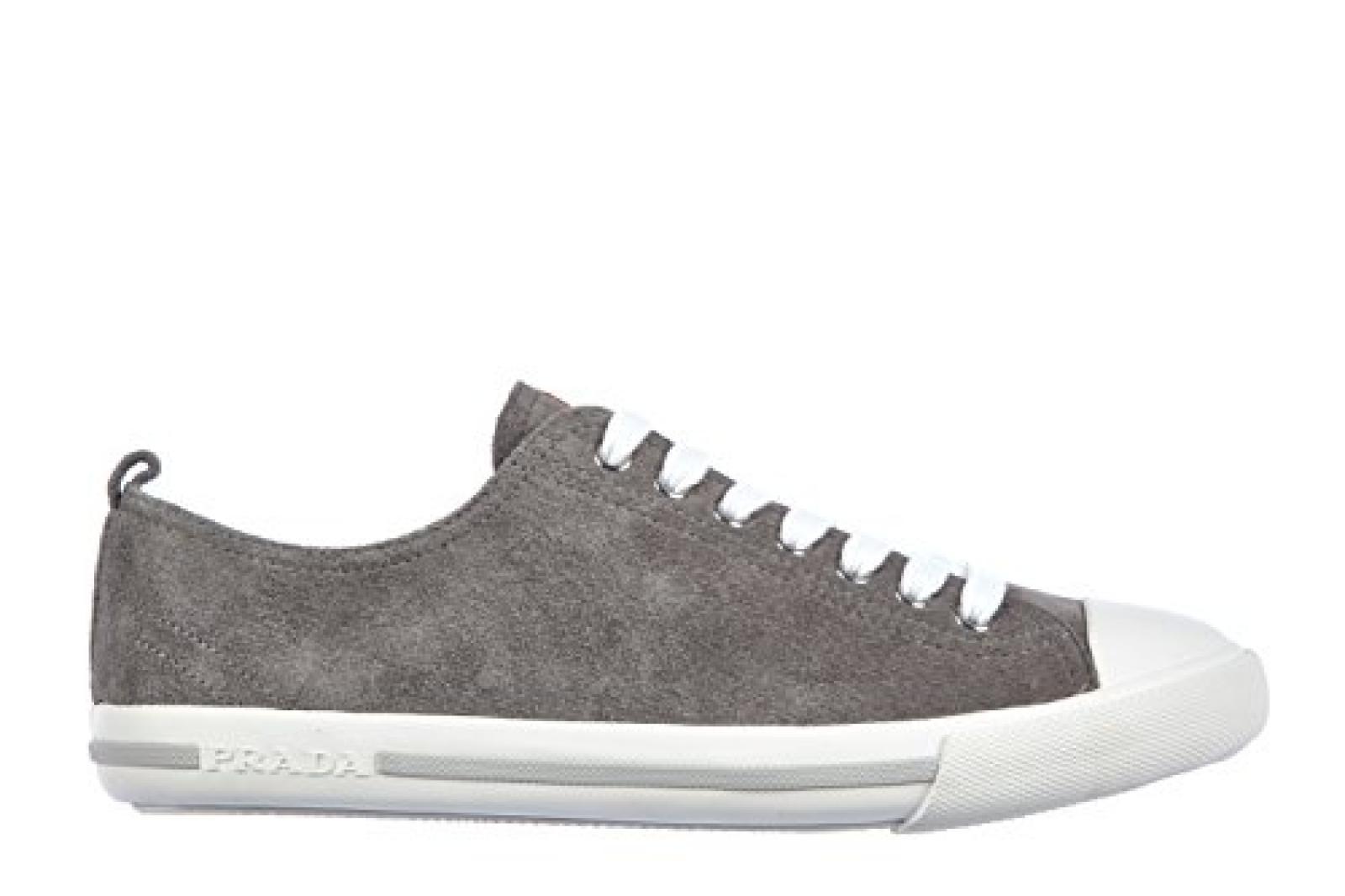 Prada Herrenschuhe Herren Wildleder Sneakers Schuhe velour Grau