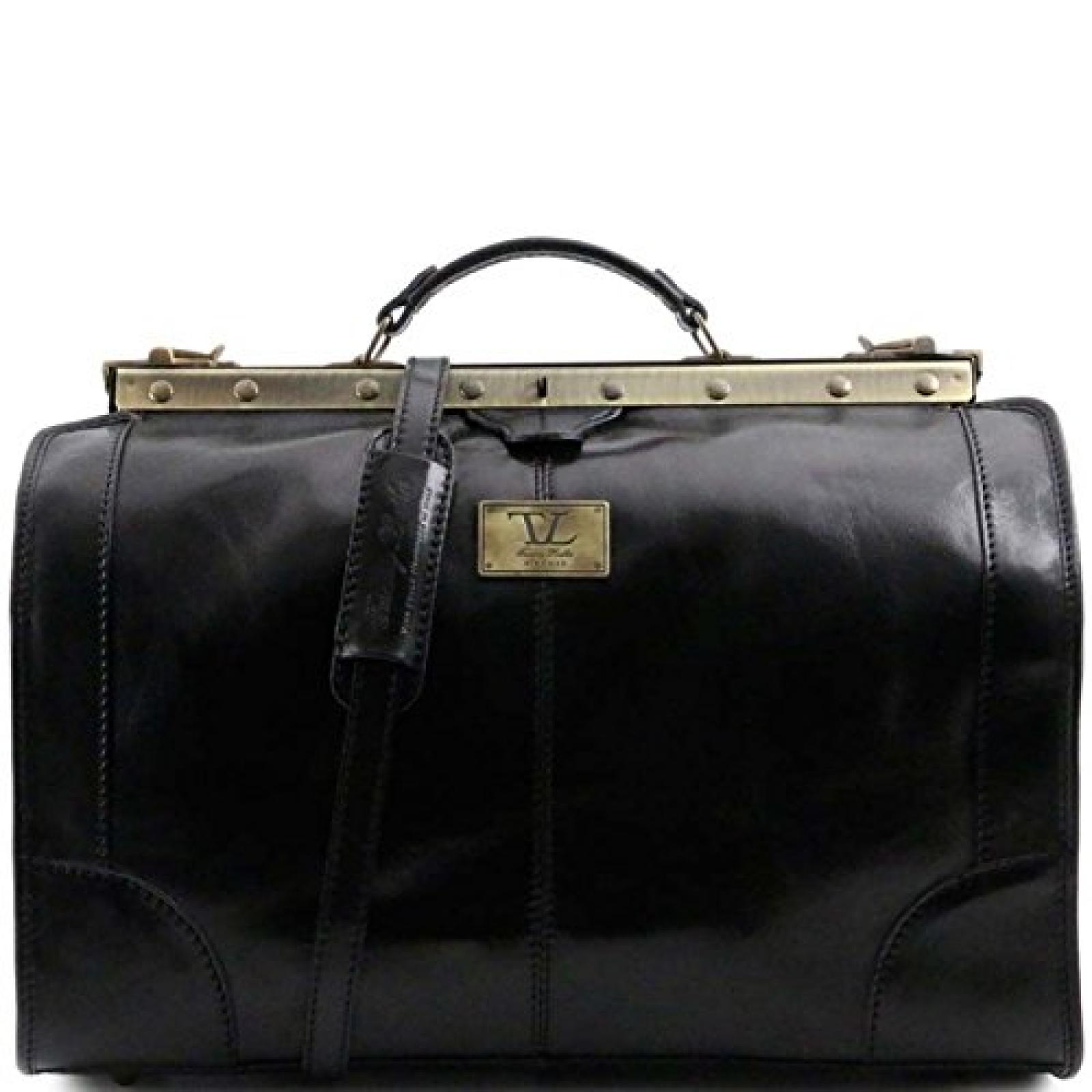 Tuscany Leather - Madrid - Maulbügelreisetasche aus Leder - Klein Schwarz - TL1023/2
