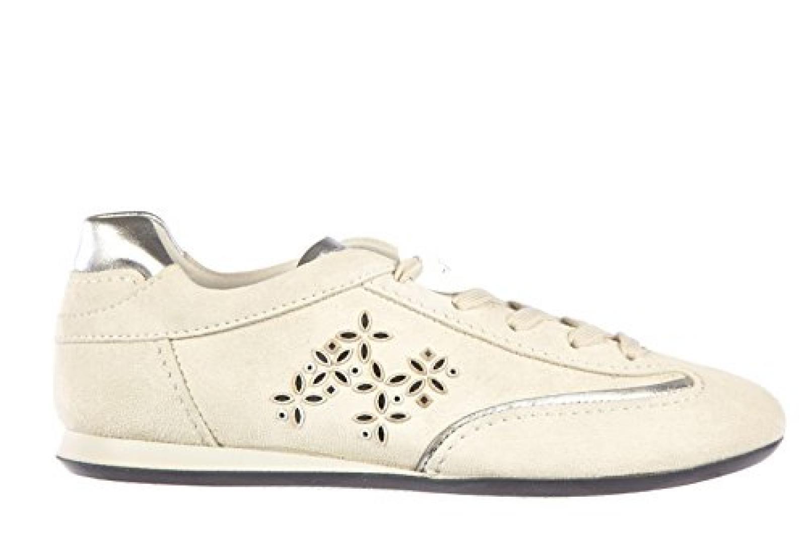 Hogan Damenschuhe Turnschuhe Damen Wildleder Schuhe Sneakers olympya specchietti Weiß