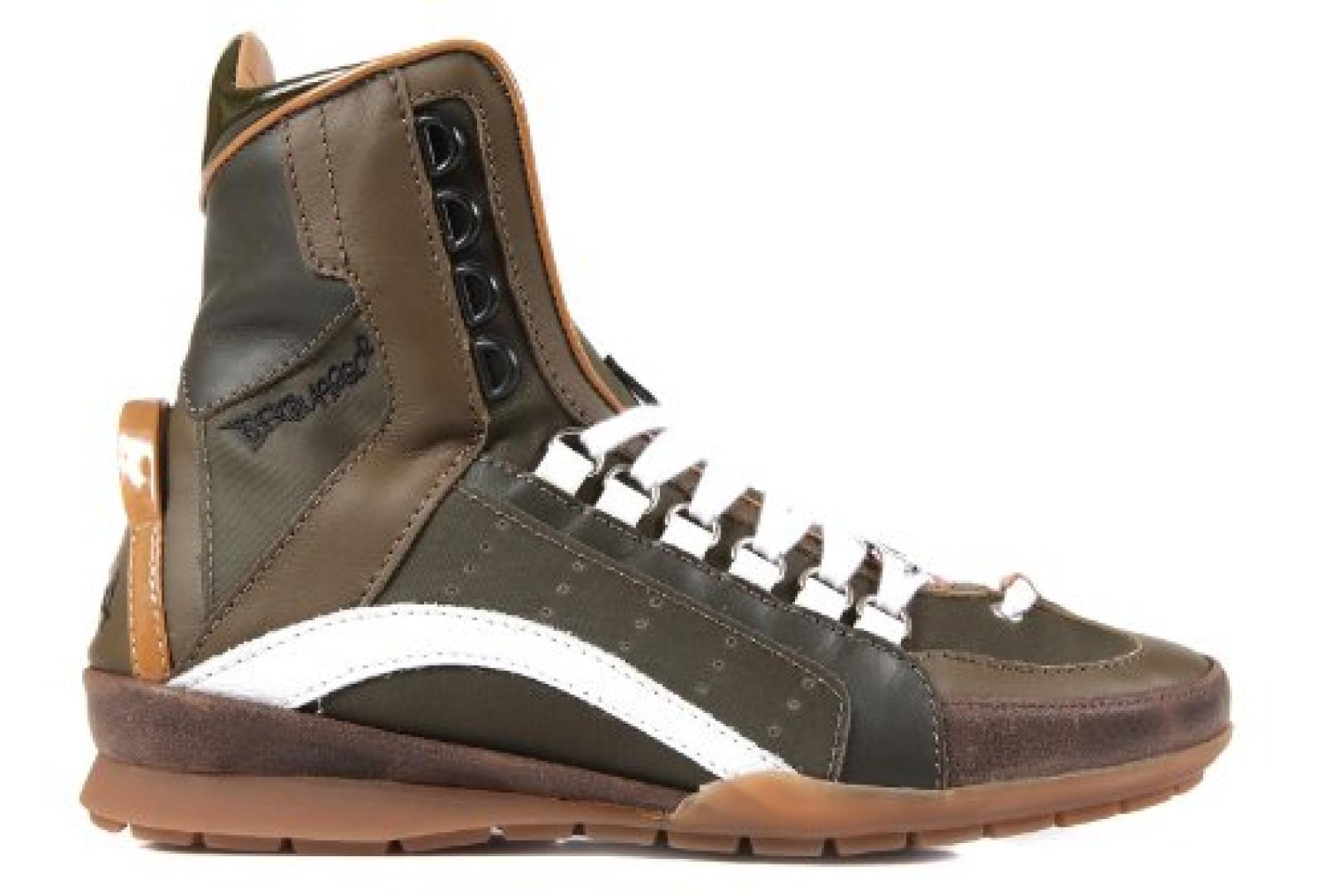 Dsquared2 Dsquared Herrenschuhe Herren Leder Schuhe High Sneakers Grün