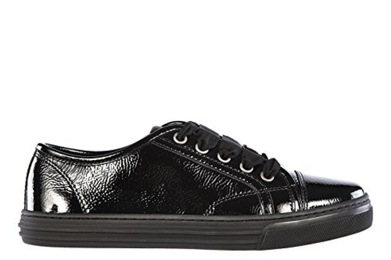 Gucci Damenschuhe Turnschuhe Damen Leder Schuhe Sneakers naplack Schwarz
