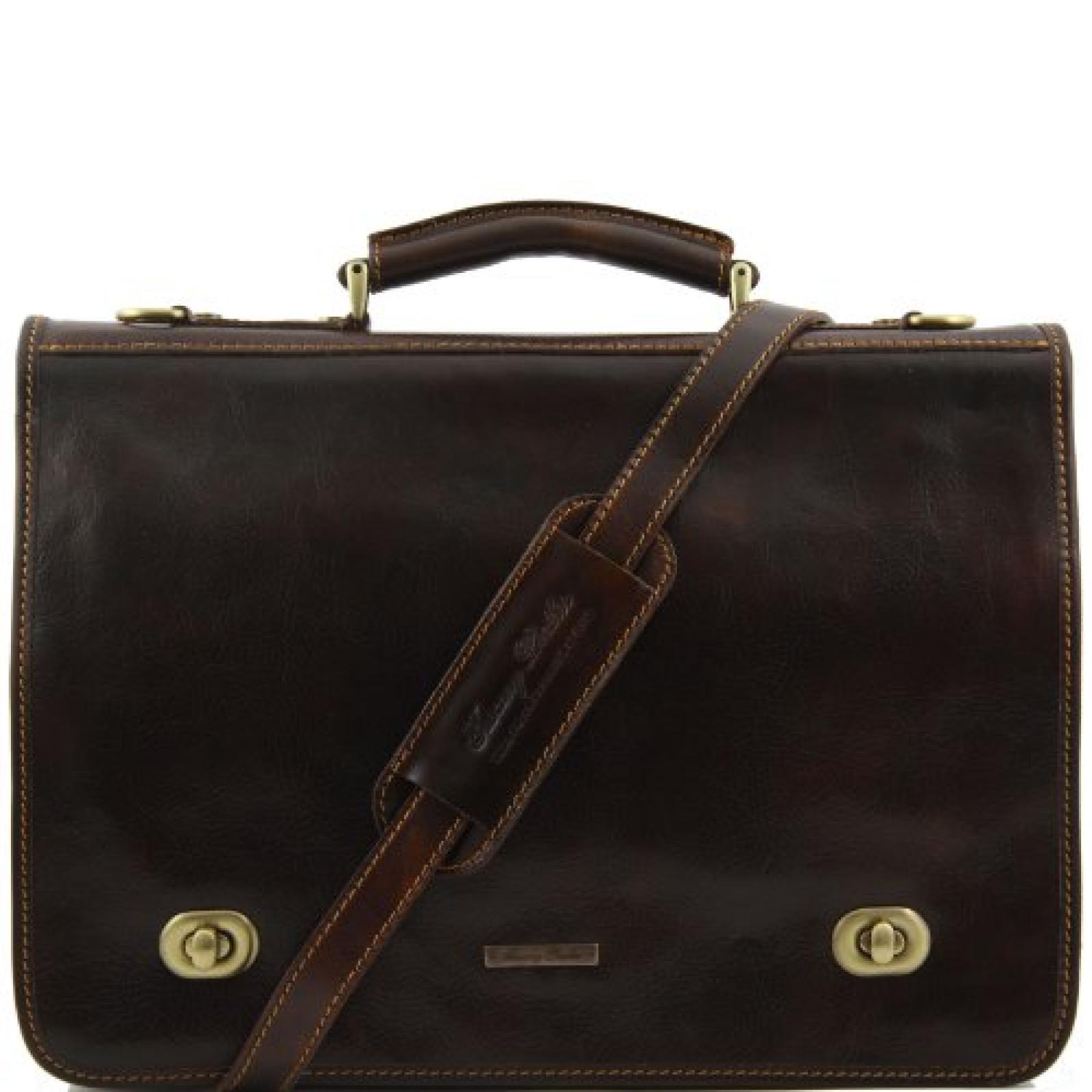 8100544 - TUSCANY LEATHER: SIENA Robuste und vielseitige Leder Messenger Tasche Aktentasche, dunkelbraun