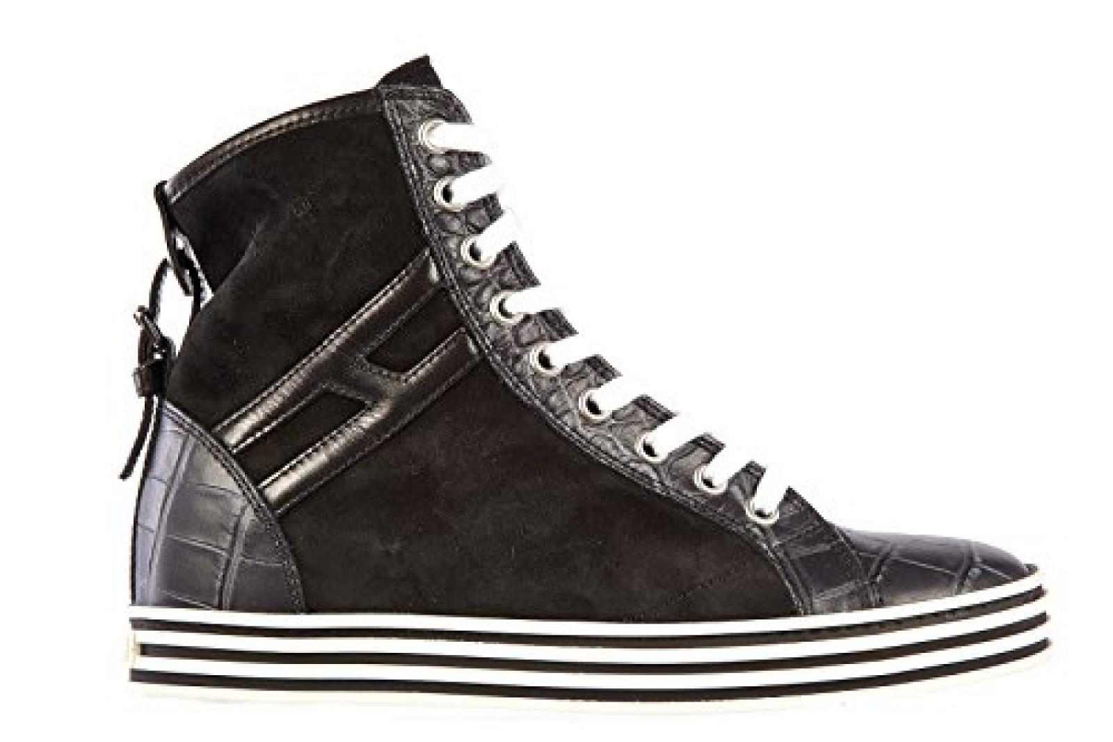 Hogan Damenschuhe Damen Leder Schuhe High Sneakers r182 rebel Schwarz