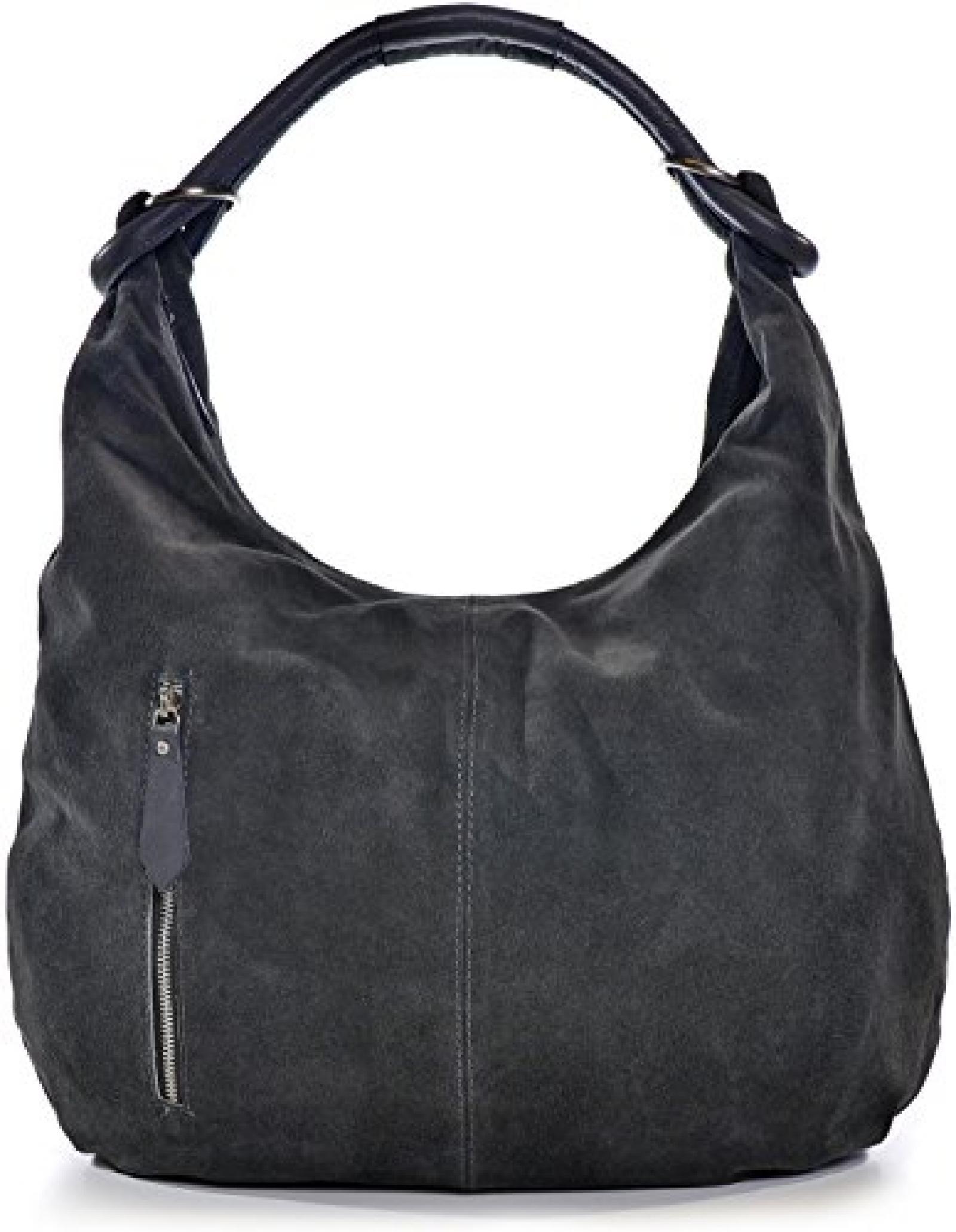 CNTMP, Damen Handtaschen, Hobo-Bags, Schultertaschen, Beutel, Beuteltaschen, Trend-Bags, Velours, Veloursleder, Wildleder, Leder Tasche, DIN-A4, 44x36x4cm (B x H x T)
