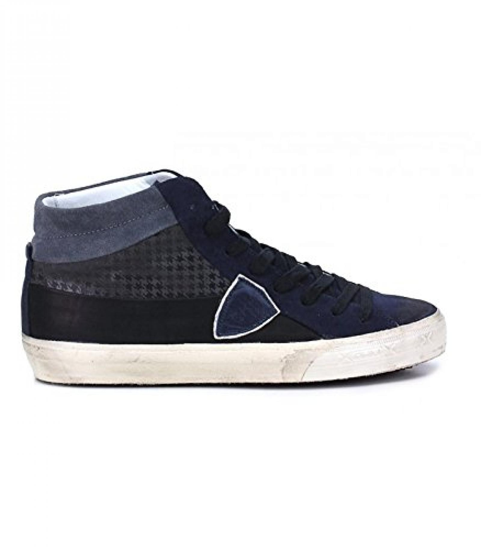 PHILIPPE MODEL MDHU CS06 NAVY LEDER HI TOP SNEAKERS