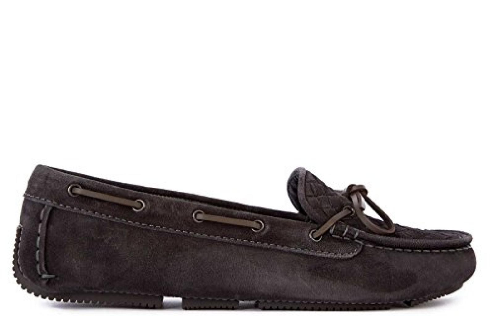 Bottega Veneta Damen Wildleder Mokassins Slipper Grau