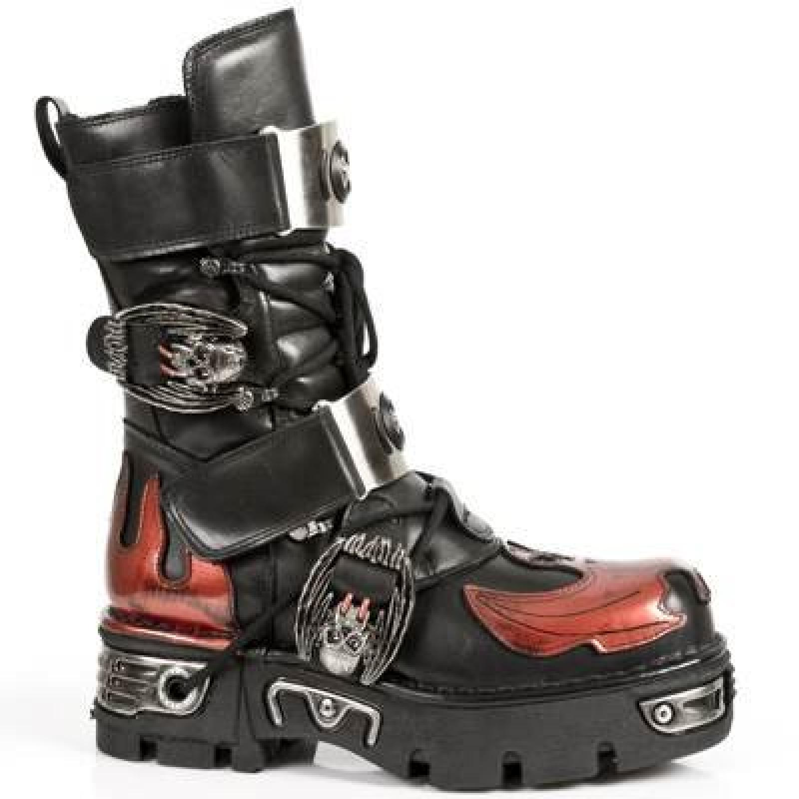 New Rock Metallic Rot Stiefel M.195-S1
