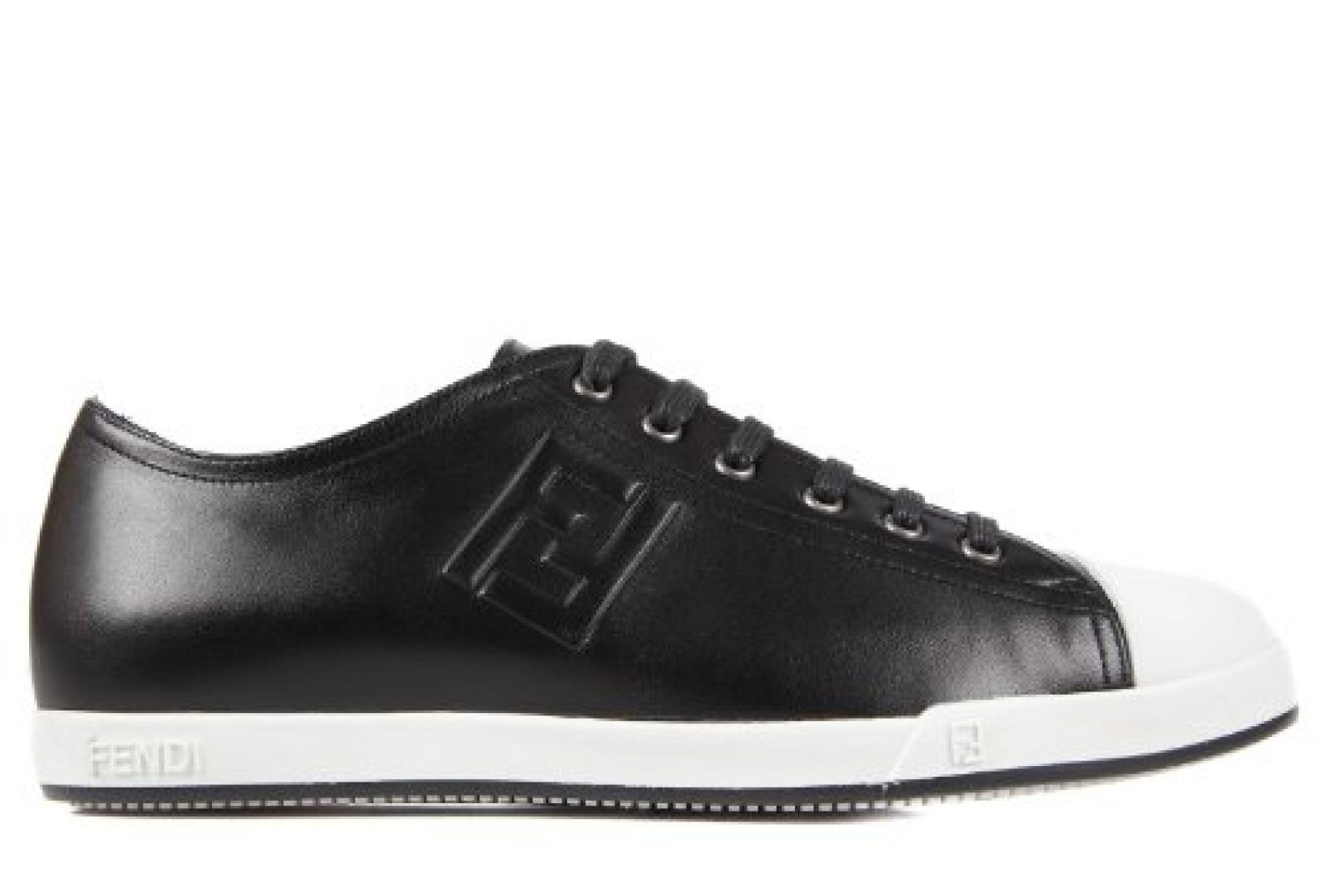 Fendi Herrenschuhe Herren Leder Schuhe Sneakers Schwarz