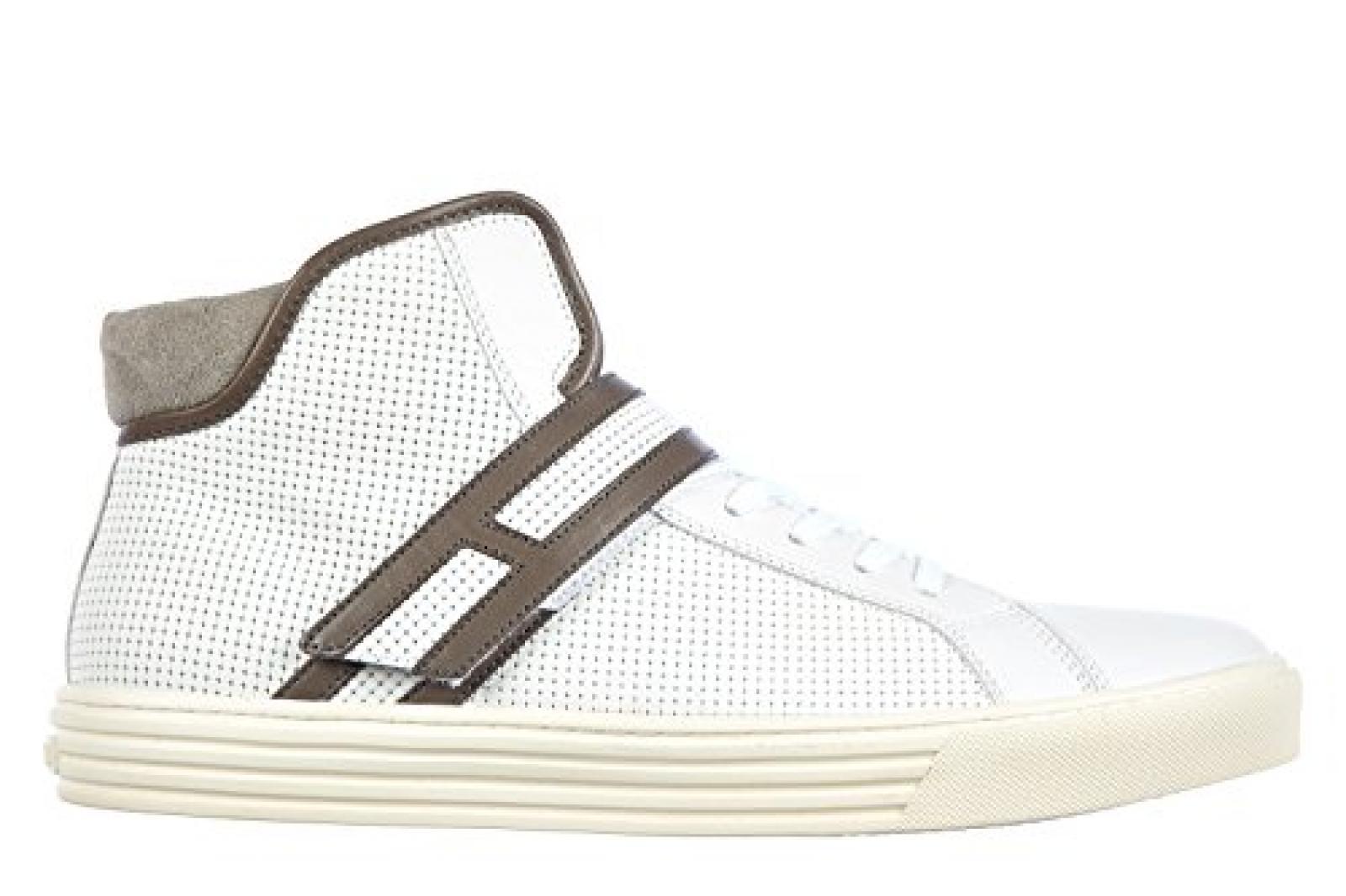 Hogan Herrenschuhe Herren Leder Schuhe High Sneakers rebel r206 Weiß