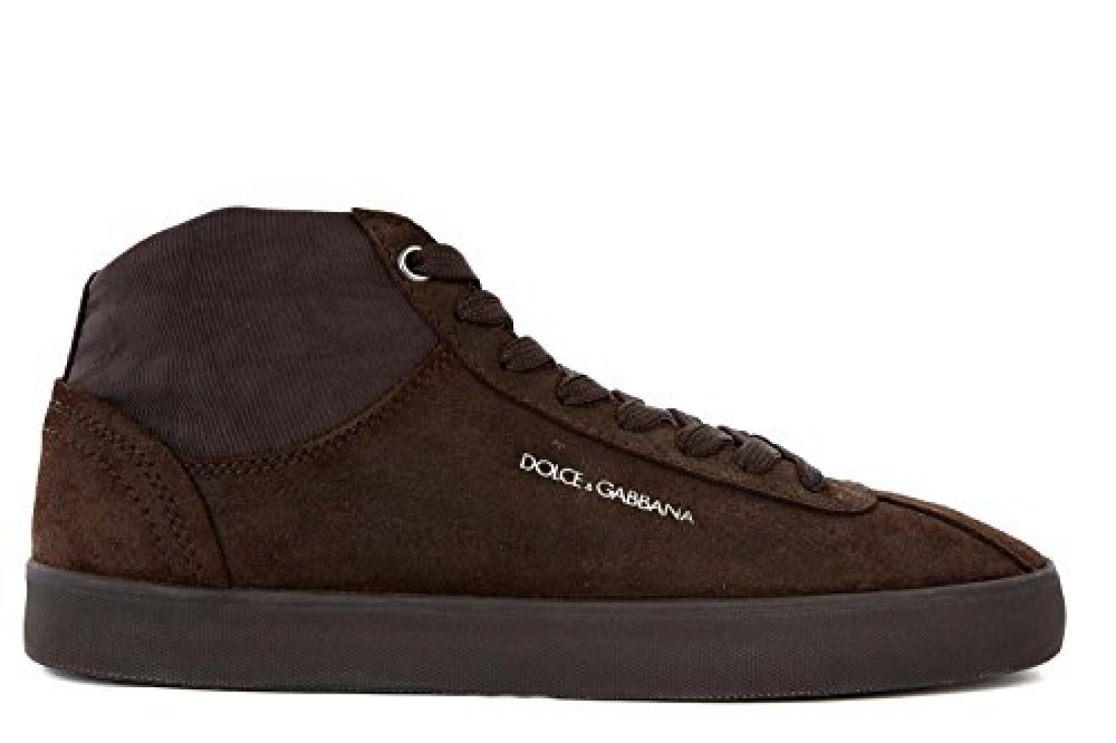 DOLCE&GABBANA Herrenschuhe Herren Wildleder Schuhe High Sneakers Braun
