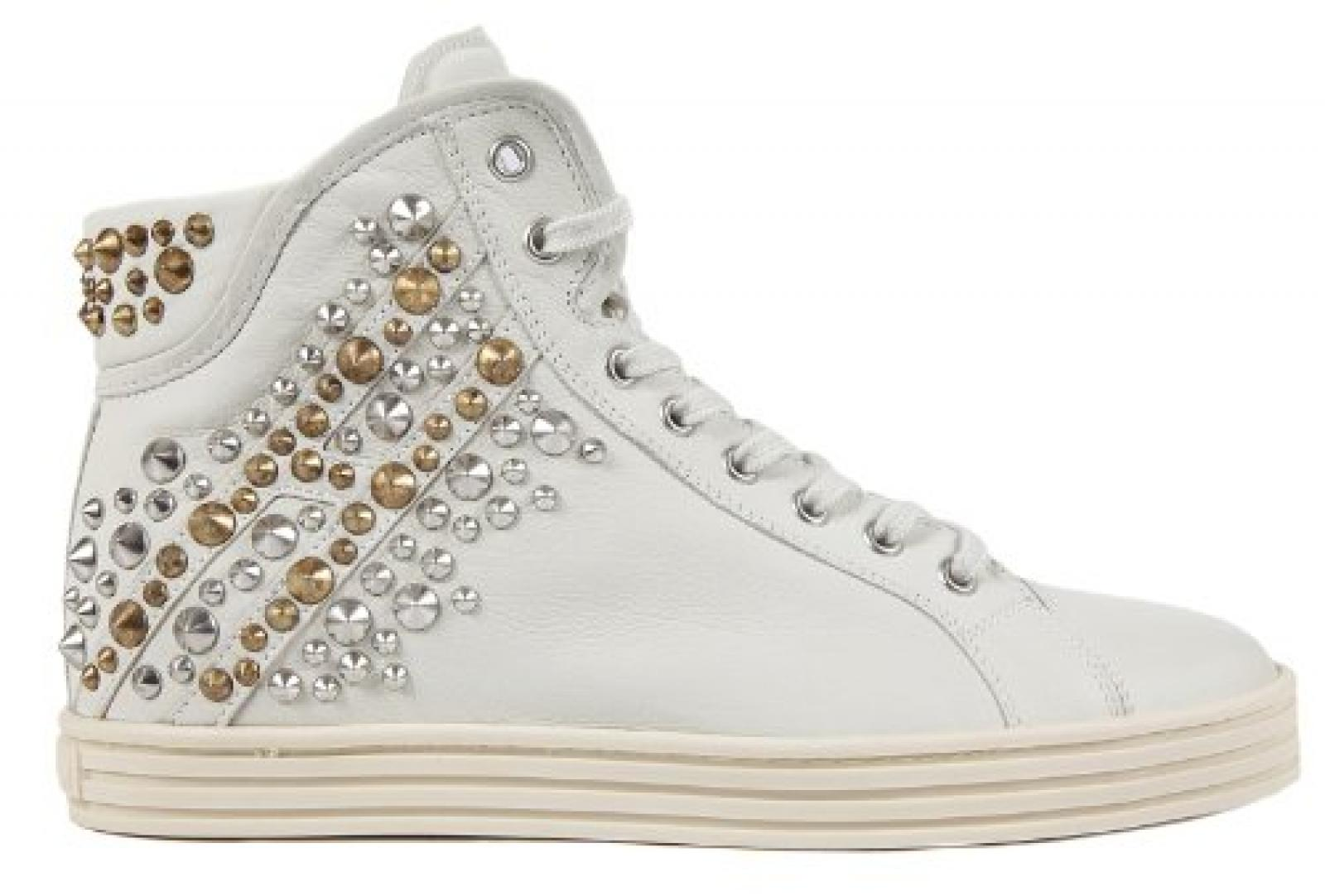 Hogan Damenschuhe Damen Leder Schuhe High Sneakers rebel Weiß