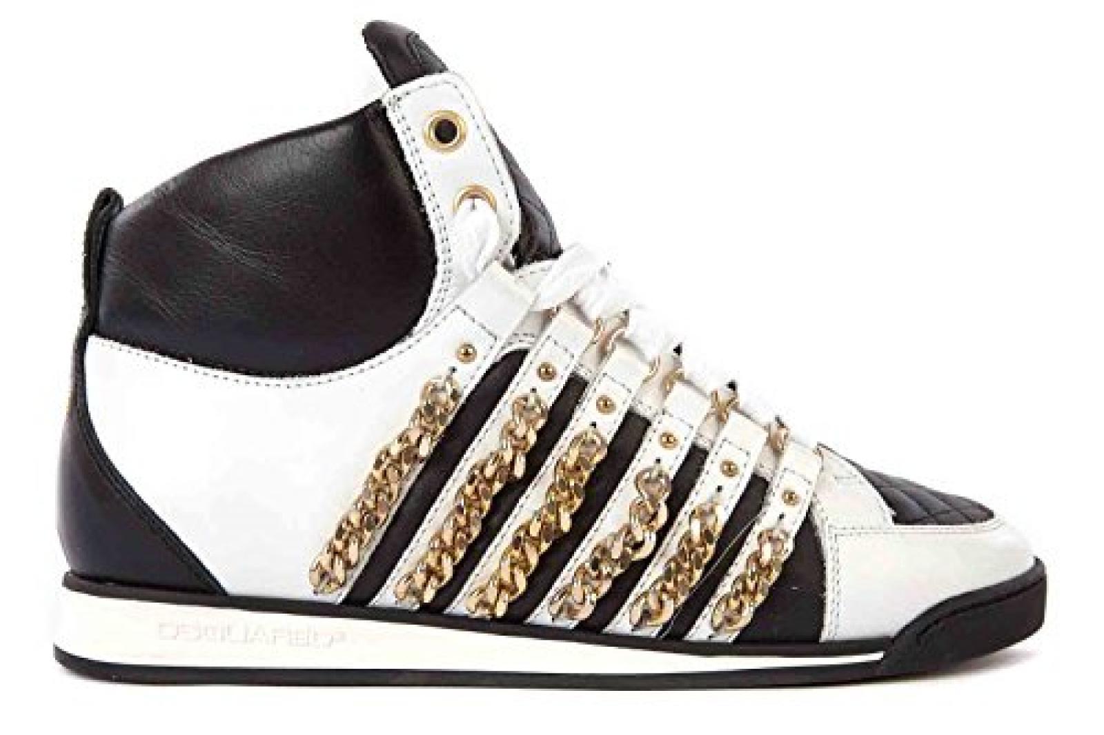 Dsquared2 Dsquared Damenschuhe Damen Leder Schuhe High Sneakers Weiß