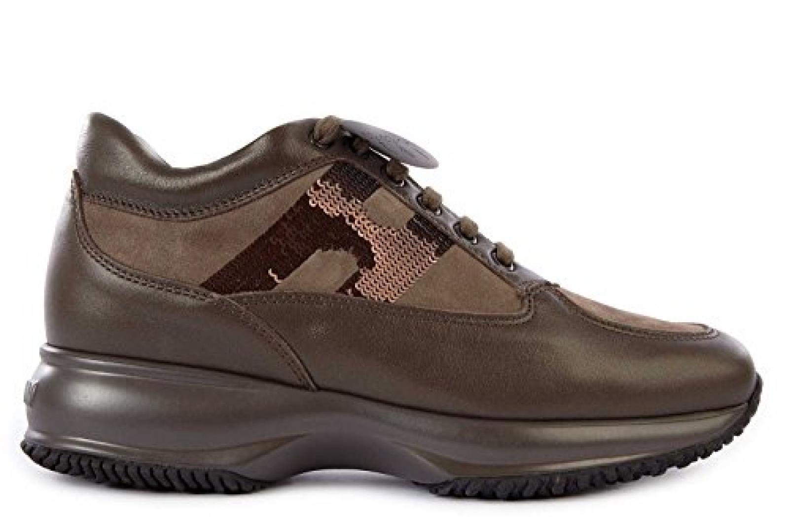 Hogan Damenschuhe Turnschuhe Damen Leder Schuhe Sneakers interactive Braun