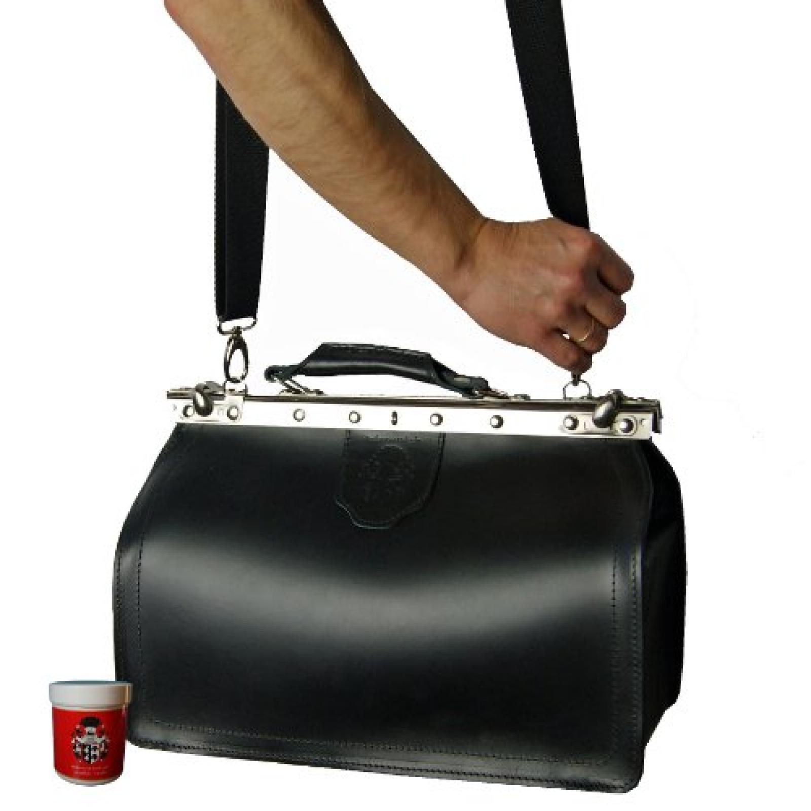 Umhängetasche VON BINGEN aus schwarzem Bio-Leder, Handmade in Germany, mit Lederpflege, FREIHERR VON MALTZAHN