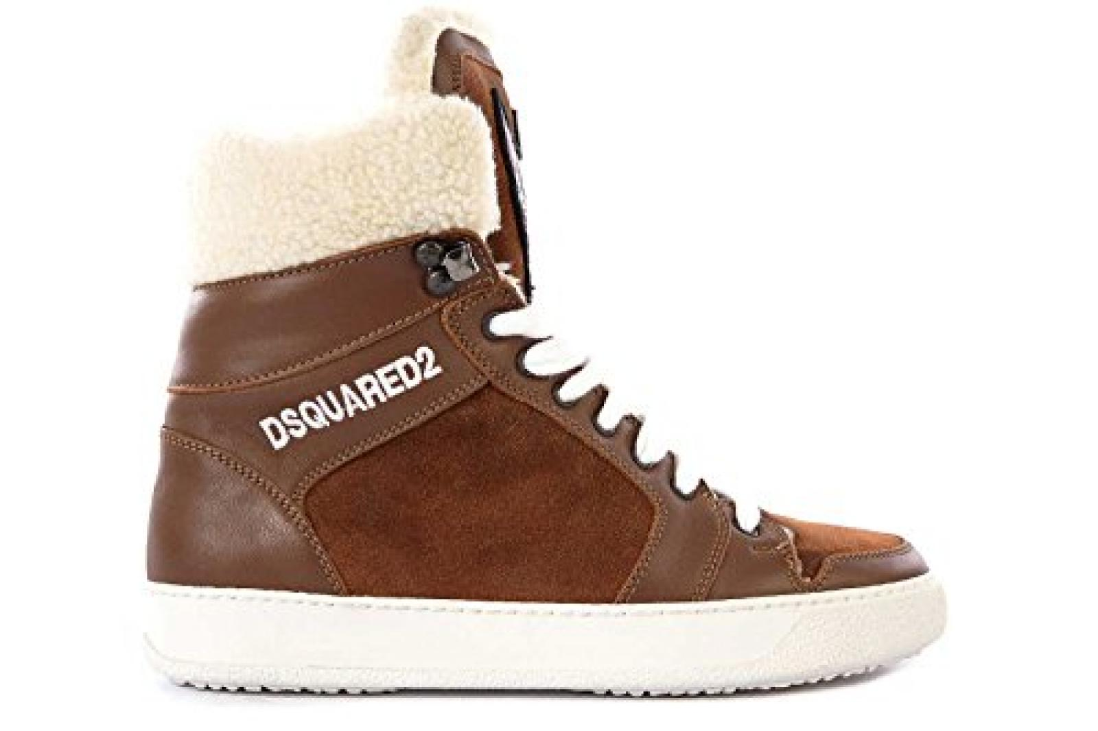Dsquared2 Dsquared Herrenschuhe Herren Leder Schuhe High Sneakers Braun