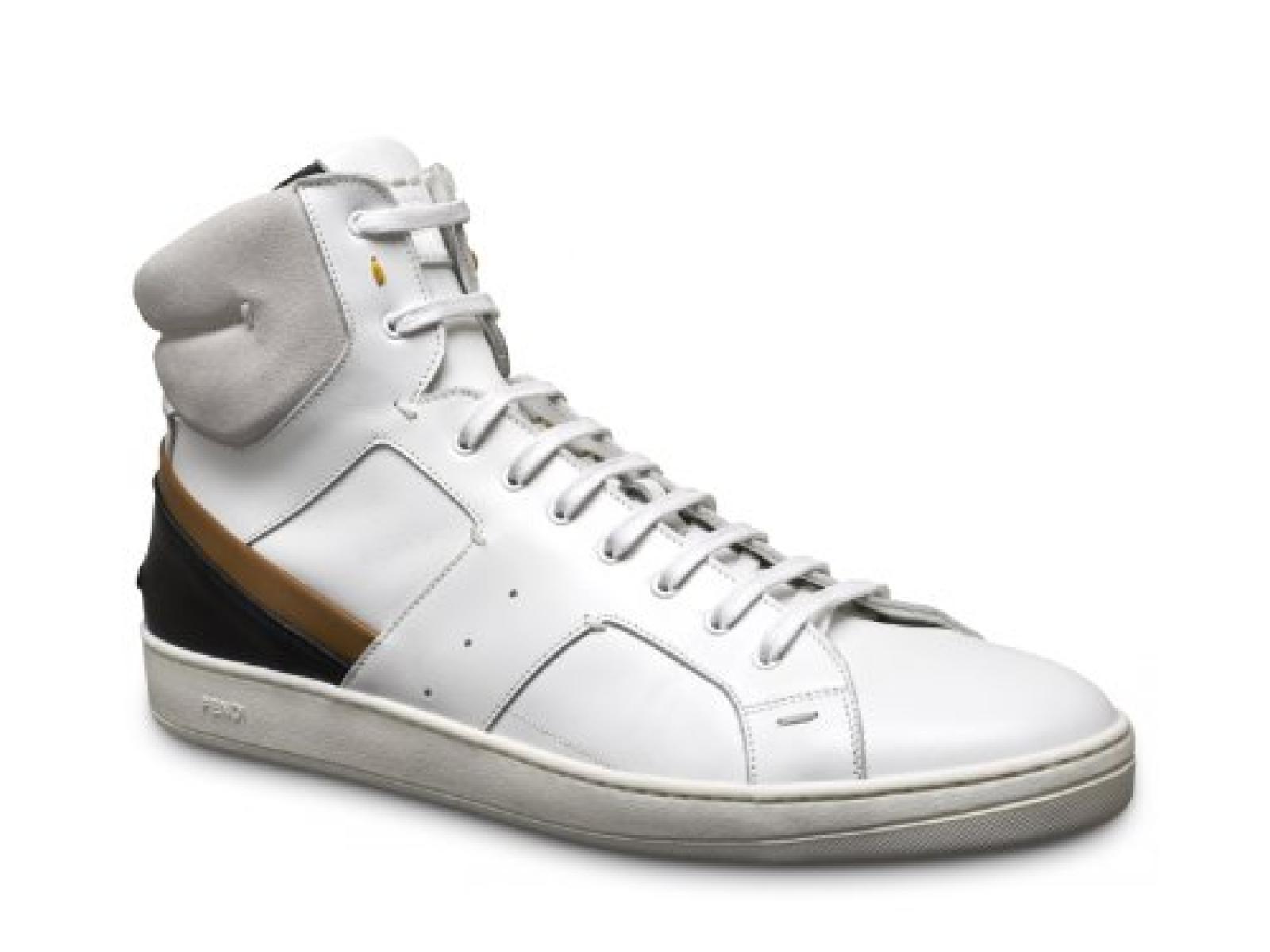 Fendi Herren hohe Sneaker aus cremefarbener Leder - Modellnummer: 7E0770 L4F F0F15