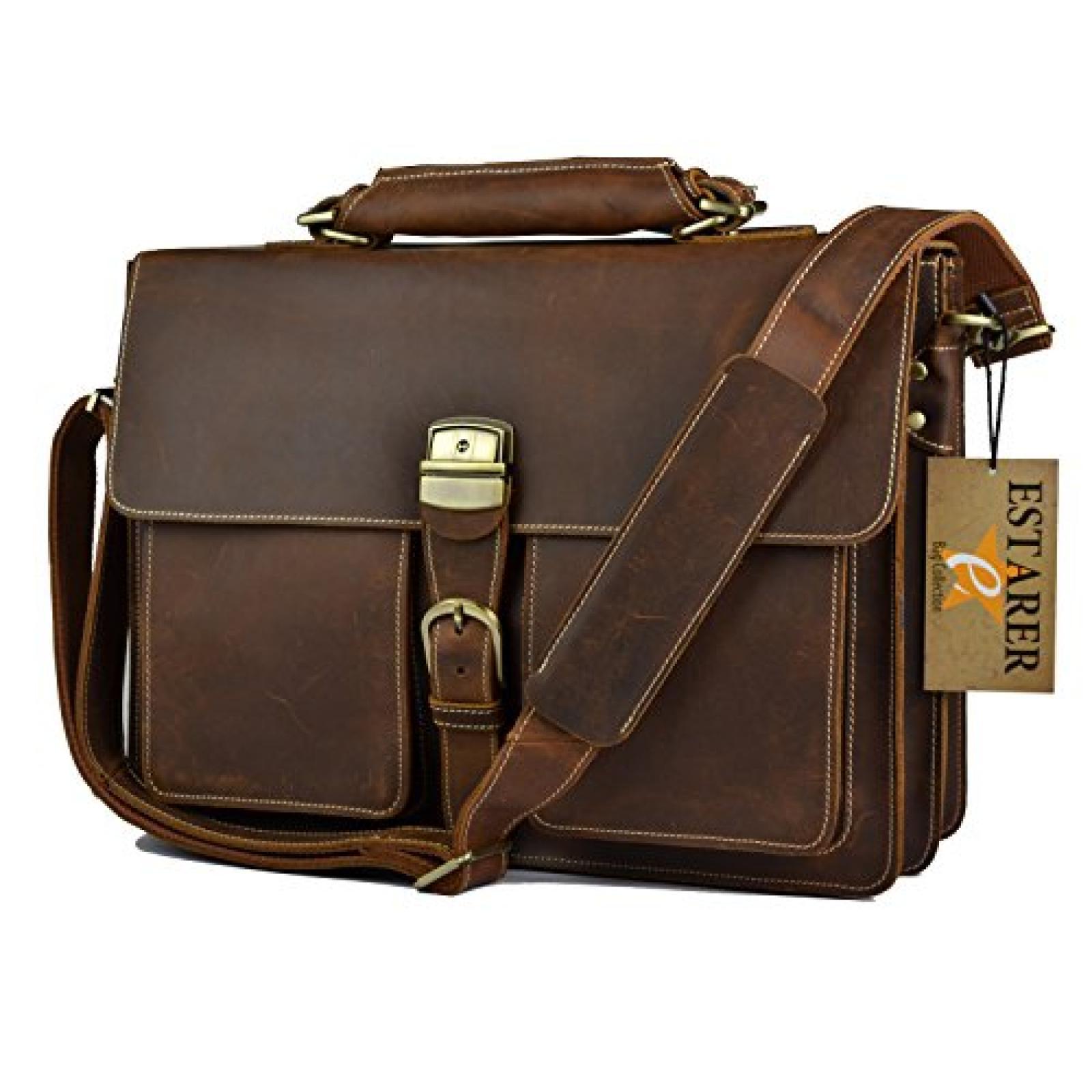 Estarer Herren Groß Aktentasche Handtasche Umhängetasche Vintage Rindsleder Arbeitstasche Bürotasche Laptoptasche