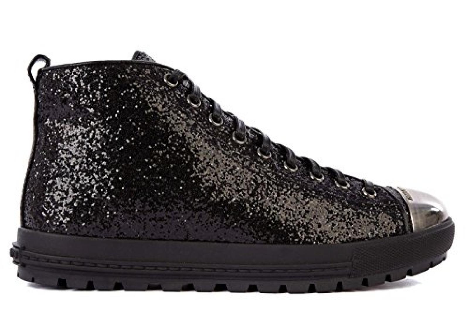 Miu Miu Damenschuhe Damen Leder Schuhe High Sneakers Schwarz