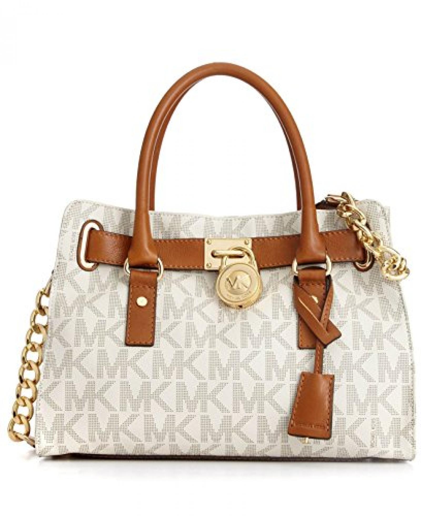 Michael Kors EW Satchel Womens MK Logo Handbag Tote Purse White