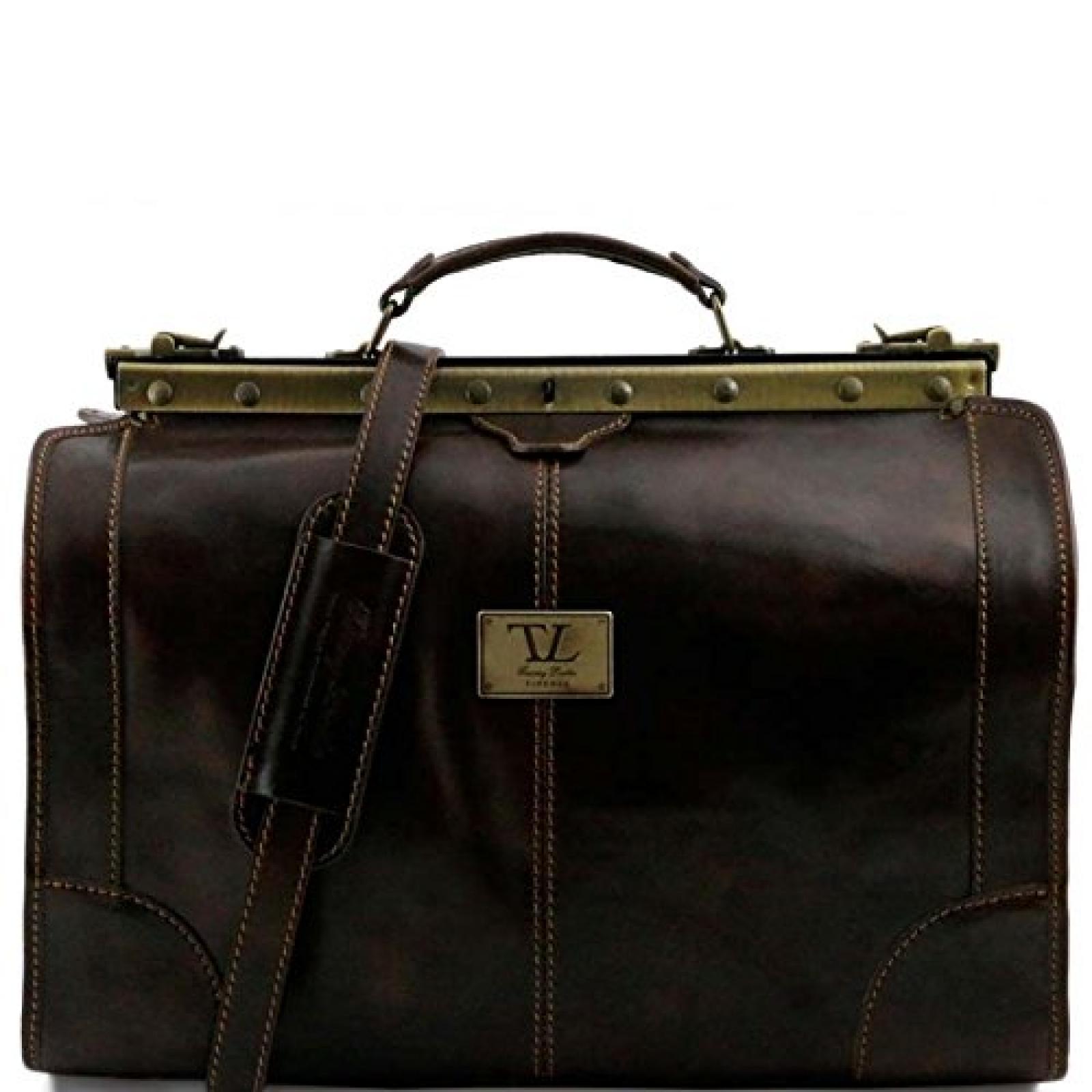 Tuscany Leather - Madrid - Maulbügelreisetasche aus Leder - Klein Dunkelbraun - TL1023/5