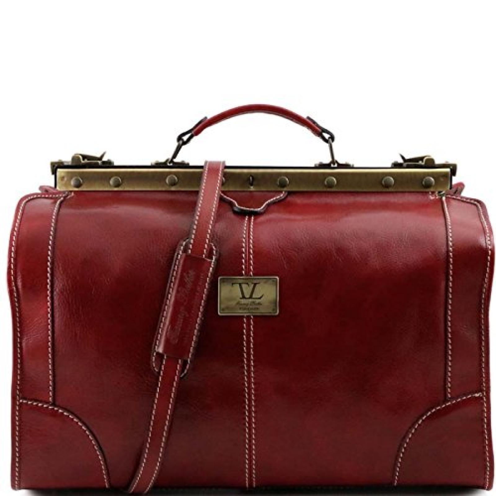 Tuscany Leather - Madrid - Maulbügelreisetasche aus Leder - Klein Rot - TL1023/4