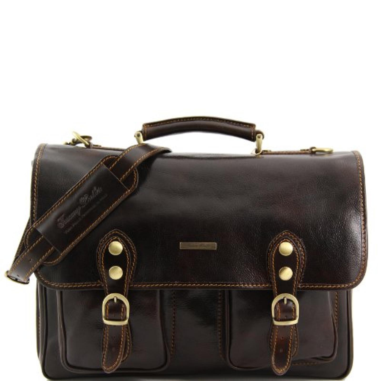81003104 - TUSCANY LEATHER: MODENA - Messenger Tasche aus Leder, dunkelbraun