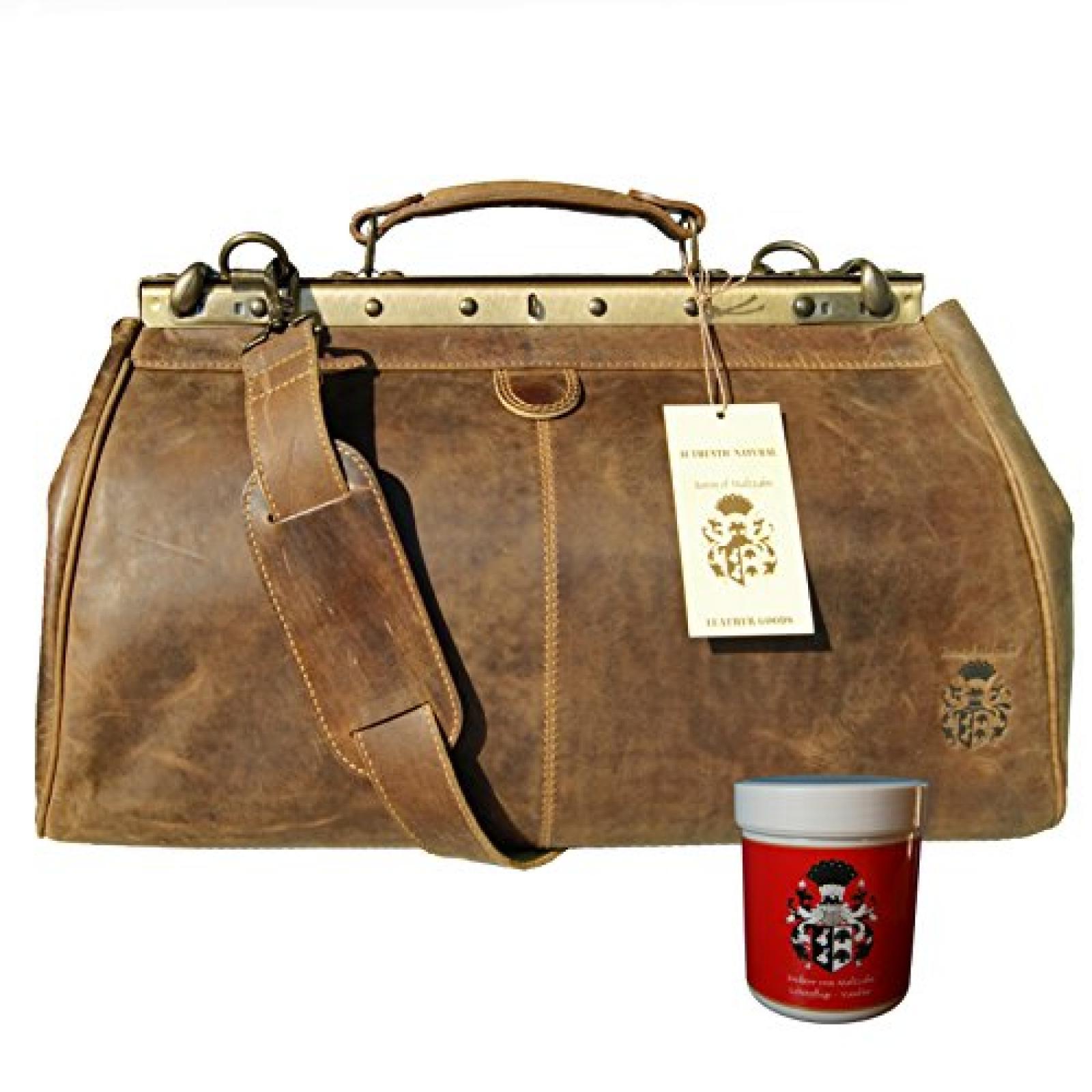 BARON of MALTZAHN Handliche Arzttasche GALAHAD aus braunem Grassland-Leder mit Schultergurt