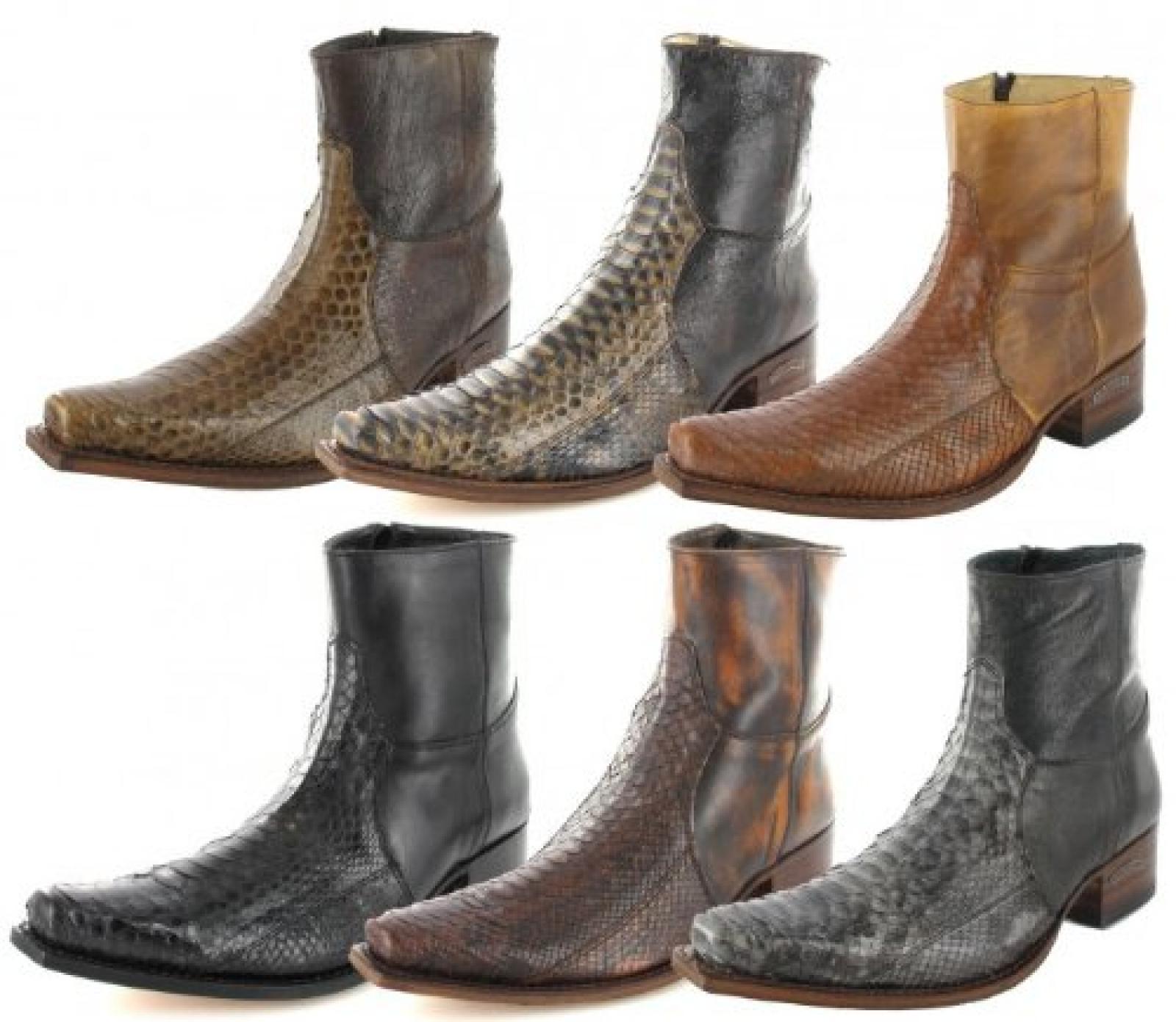 Sendra Boots 5701P Herren Python Westernstiefelette Cowboystiefelette (in 6 tollen Farben)