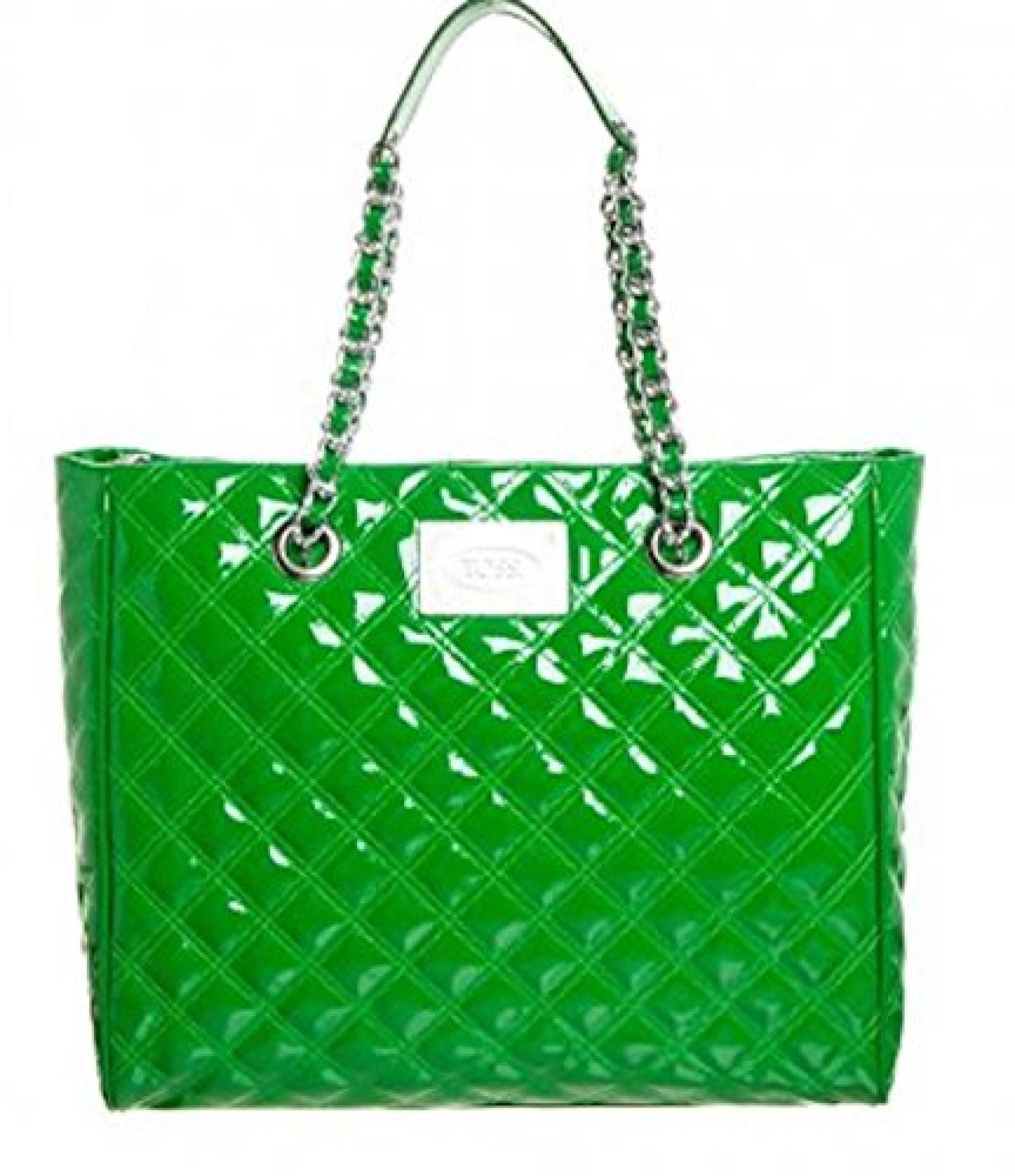 Schöne Silvio Tossi Handtasche im grünen Lackleder
